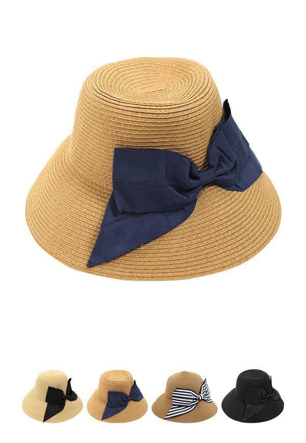 帽子 コンパクトリボンウォッシャブルハット レディース J558