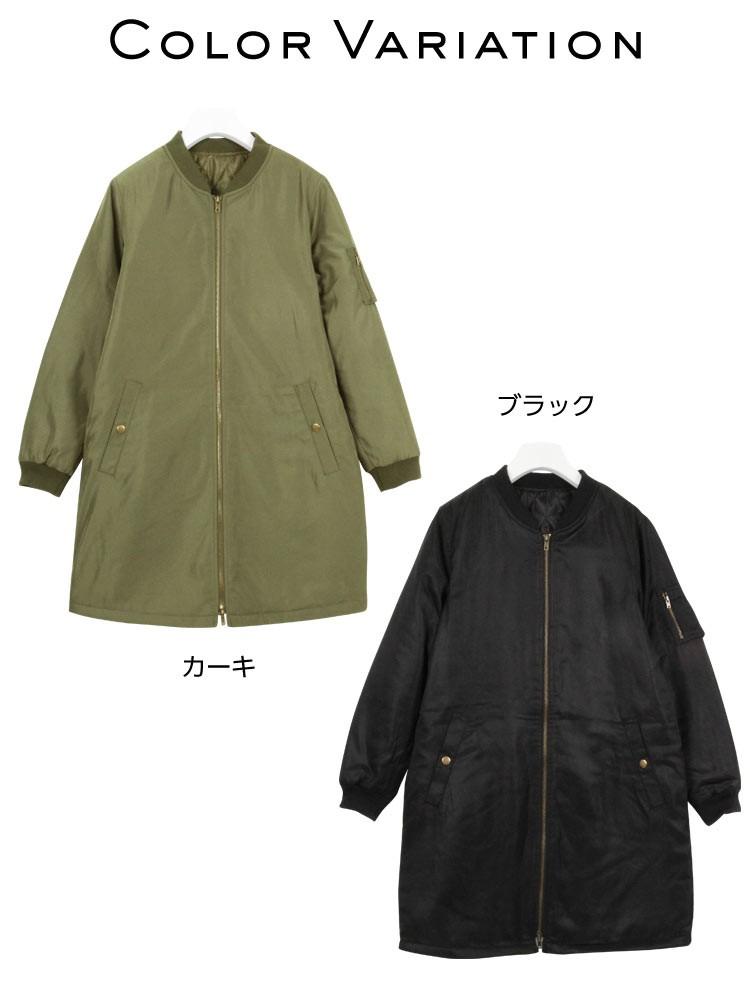 中綿キルトリブ切替えロングMA-1ブルゾン/コート/レディース/ミリタリー K554