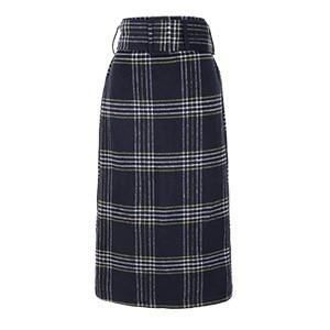 起毛チェックベルト付きタイトスカート