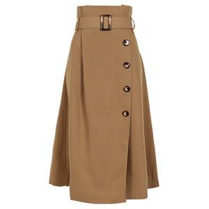ラップ風ボタン付きデザインスカート