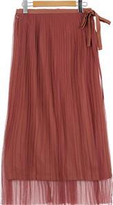 チュールプリーツスカート+ツイルセミフレアスカートセット