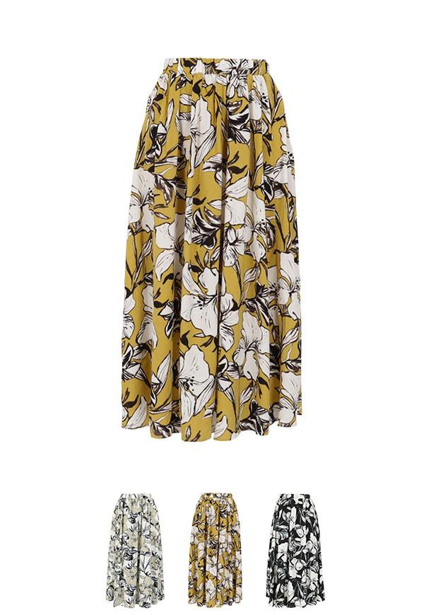 ウエストゴム ボタニカル花柄フレアースカート レディース ボトム ロング マキシ 春夏 春 夏 M2450