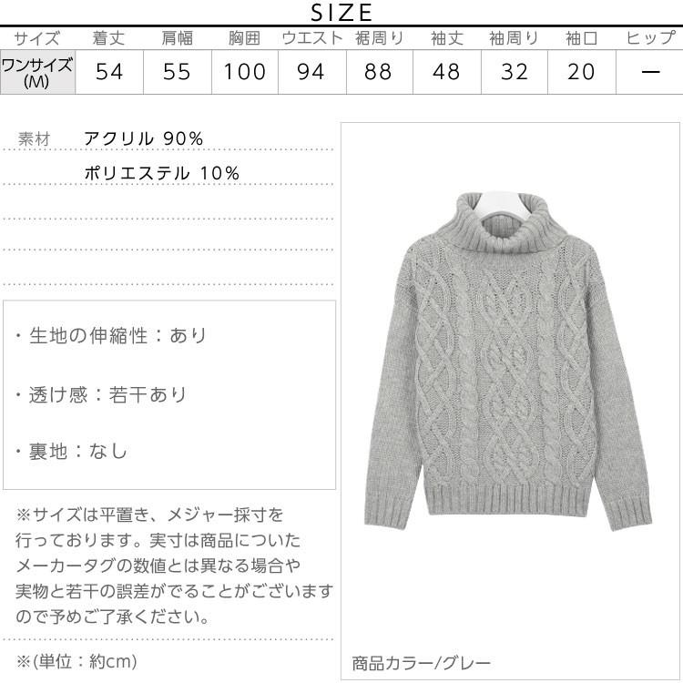 ケーブルタートルニットトップス/レディース ローゲージ編み N921