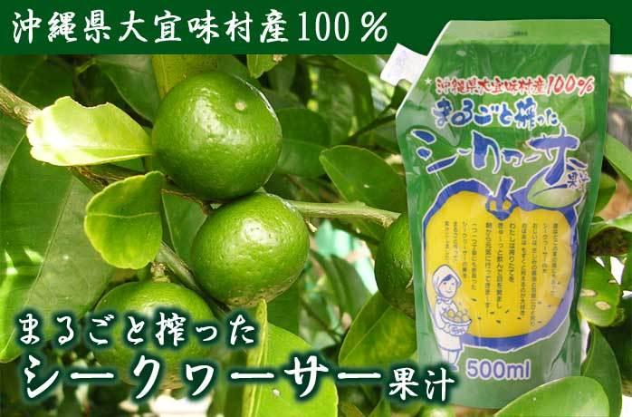 大宜味村産100% まるごと絞ったシークヮーサー果汁500ml(パウチ)