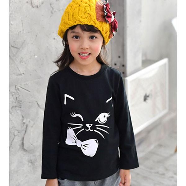 長袖トップス 韓国子供服 Bee カジュアル キッズ 女の子 男の子 Tシャツ プリント とり ロゴ キャット 春 秋 カラバリ長袖 100 110 120 130 140 150 RELAX|kodomofuku-bee|24