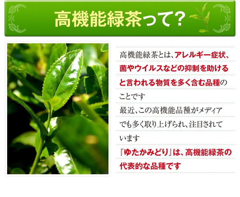 高機能緑茶について アレルギー症状、菌やウイルスなどの抑制を助けるといわれる物質を多く含む品種 「ゆたかみどり」は、この高機能緑茶の代表的な品種です