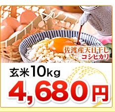 新潟県佐渡産天日干しコシヒカリ玄米10kg