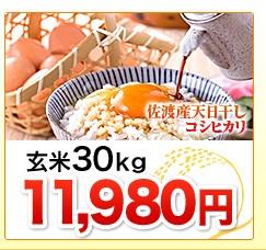 新潟県佐渡産天日干しコシヒカリ玄米30kg