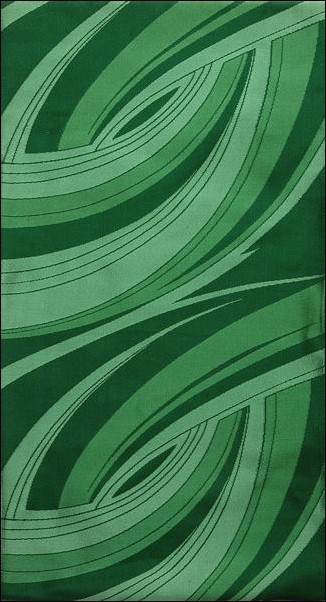 袋帯 西陣織り 紹巴 緑地色 本袋 お洒落 緑流水 - こむろのキモノ