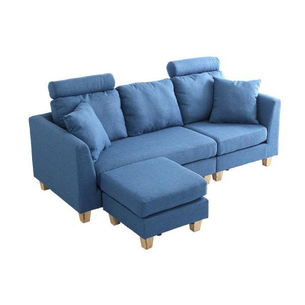 会員特価有)3人掛けカウチソファ(布地)6色展開 ヘッドレスト、クッション各2個付き|Lunion-ラニオン-|koreene|24