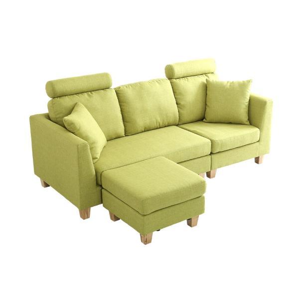会員特価有)3人掛けカウチソファ(布地)6色展開 ヘッドレスト、クッション各2個付き|Lunion-ラニオン-|koreene|22