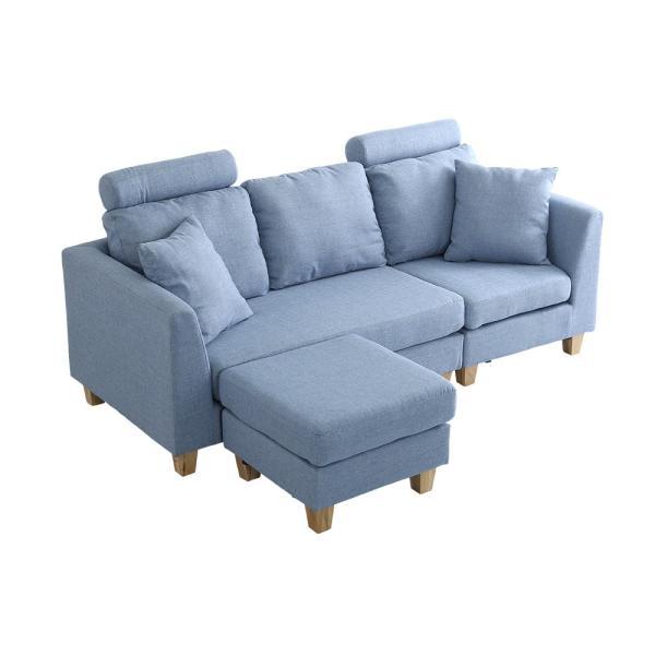 会員特価有)3人掛けカウチソファ(布地)6色展開 ヘッドレスト、クッション各2個付き|Lunion-ラニオン-|koreene|26