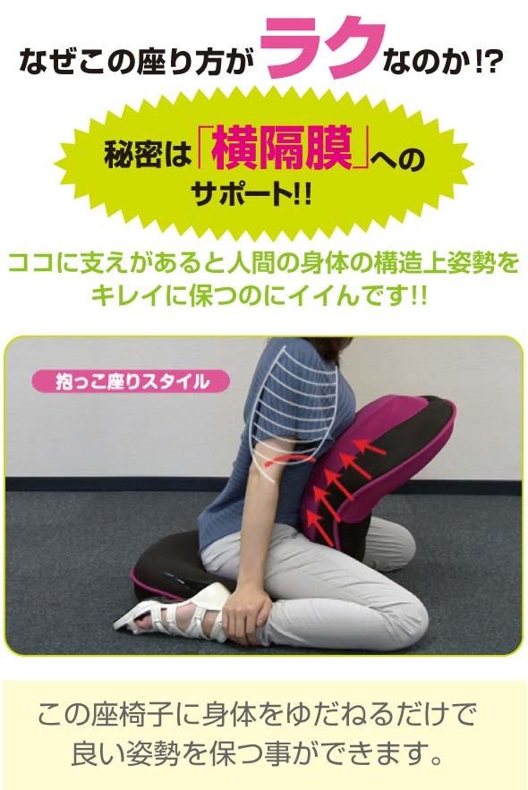 座り方がラクな秘密は横隔膜へのサポート ここに支えがあると人間の身体の構造上姿勢をキレイに保ちます。 抱っこ座りスタイル この座椅子に身体をゆだねと良い姿勢を保つことができます