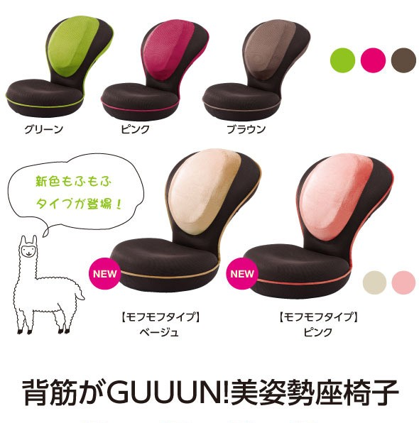 新色もふもふタイプが登場! 背筋がGUUUN!美姿勢座椅子