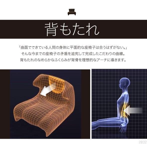 背もたれ。曲面でできている人間の体に平面的な座椅子は合うはずない。そんな今までの座椅子の矛盾を追求して完成したこだわりの曲線。背もたれのなめらかな膨らみが背骨を理想的なアーチに導きます