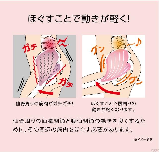 コンパクト指圧代用器 コシレッチ 仙骨をほぐすと動きが軽く