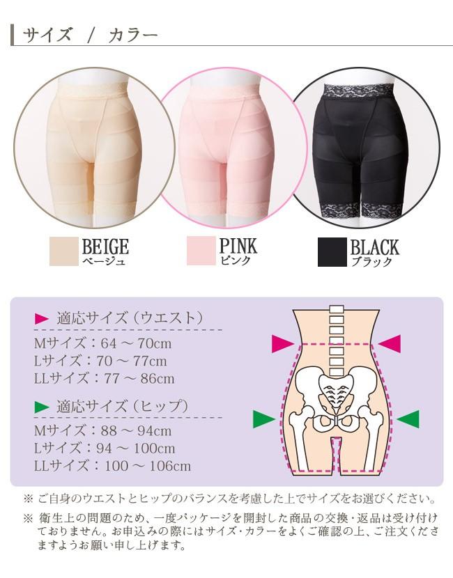 サイズ・カラー。BEIGE ベージュ。PINK ピンク。BLACK ブラック。適応サイズ(ウエスト)Mサイズ64〜70cm。Lサイズ70〜77cm。LLサイズ77〜86cm。(ヒップ)Mサイズ88〜94cm。Lサイズ94〜100cm。LLサイズ100〜106cm。ご自身のウエストとヒップのバランスを考慮した上でサイズをお選びください。衛生上の問題のため、一度パッケージを開封した商品の交換・返品は受け付けておりません。お申込みの際にはサイズ・カラーをよくご確認の上、ご注文くださいますようお願い申し上げます