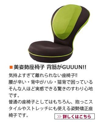 美姿勢座椅子 背筋がGUUUN!! 気持よすぎて離れられない座椅子!! 腰が辛い・背中がハル・猫背で困っている そんな人ほど実感できる驚きのすわり心地です。普通の座椅子としてはもちろん、抱っこスタイルやストレッチにも使える姿勢矯正座椅子です。
