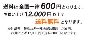 全国一律送料600円/お買上げ12000円で送料無料!