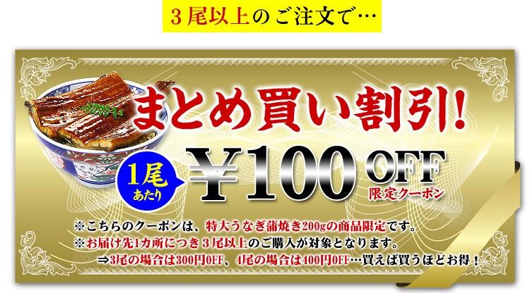 特大うなぎ蒲焼き200g前後×1尾のまとめ買いクーポン