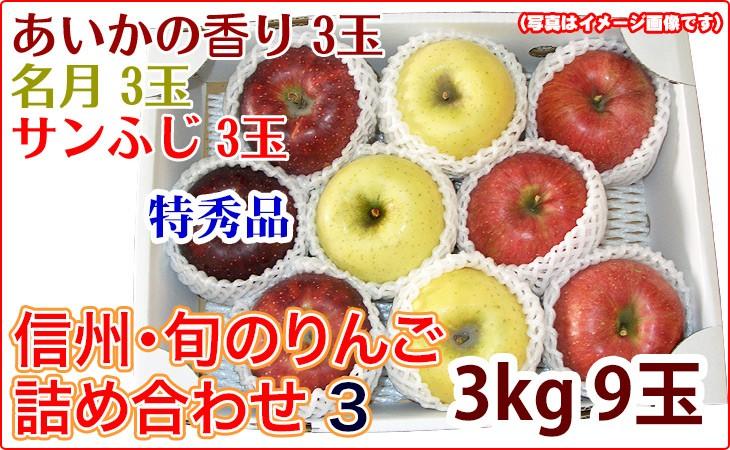 今が旬! リンゴ 名月/あいかの香り/サンふじの詰め合わせ3玉×3