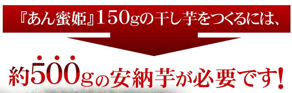 「あん蜜姫」150gの干し芋をつくるには、約500gの安納芋が必要です!