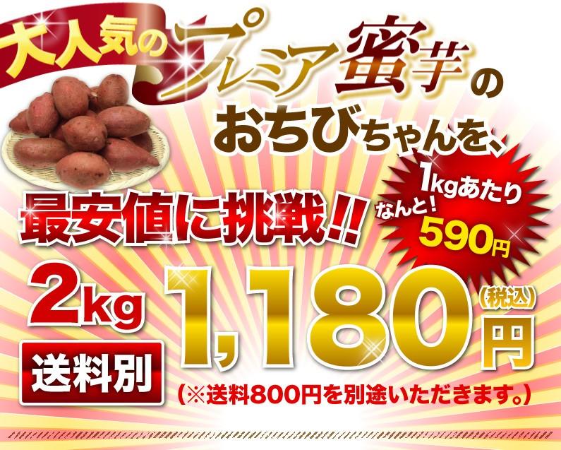 大人気のプレミア蜜芋のおちびちゃんを、最安値に挑戦!!1kgあたりなんと!590円