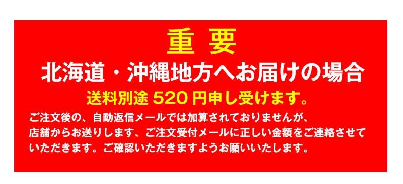 北海道・沖縄地方へお届けの場合、送料別途520円