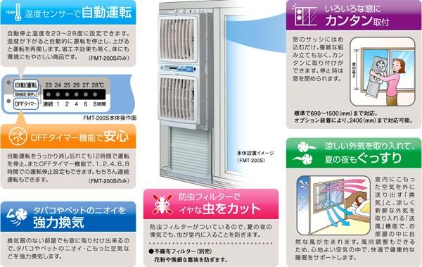 高須産業 同時給排気型 ウィンドツインファン FMT-200S ウインドファン 特徴
