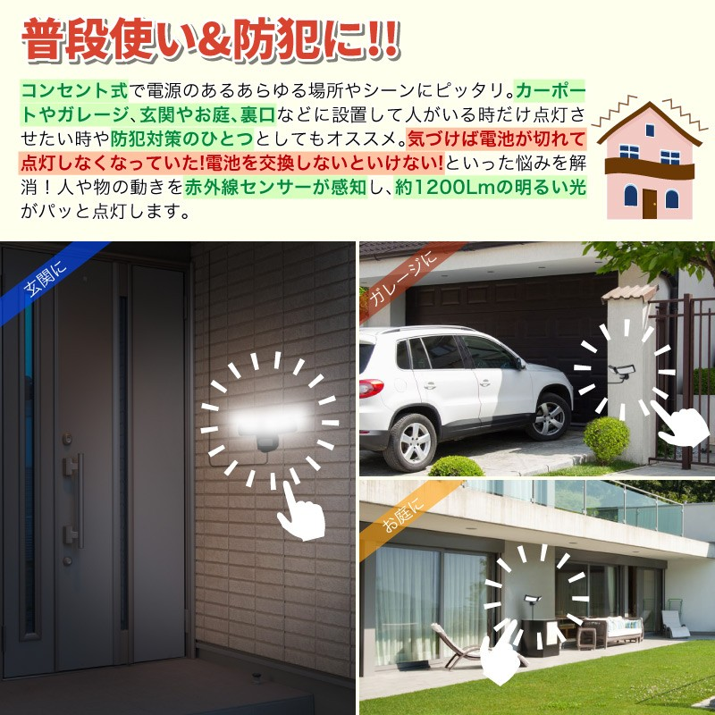 センサーライト LED 人感センサー 壁掛け照明 LEDセンサーライト 人感センサーライト ブラケットライト 防犯ライト