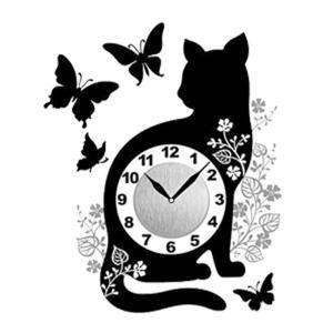 ウォール クロック ステッカー‐時計 壁掛け シール 壁紙 ウォールステッカー 猫 ねこ キャット Wall Clock Sticker kurazo 18