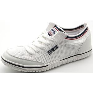 スニーカー レディース 靴 紺 白 ホワイト 軽い 超軽量 通気性 屈曲性 EDWIN EDW-4537 平日3〜5日以内に発送|靴のニシムラ PayPayモール店