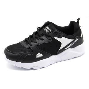 スニーカー レディース キッズ 靴 黒 ブラック マルチ 軽い 軽量 疲れない 反射材 屈曲性 通学 通勤 KANGOL SPORT KJS5033 父の日|靴のニシムラ PayPayモール店