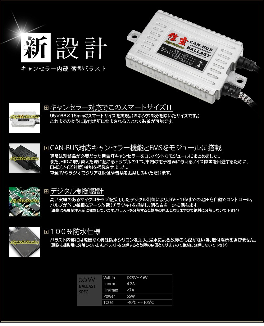 キャンセラー内蔵 HID モデル信玄 35W バラスト