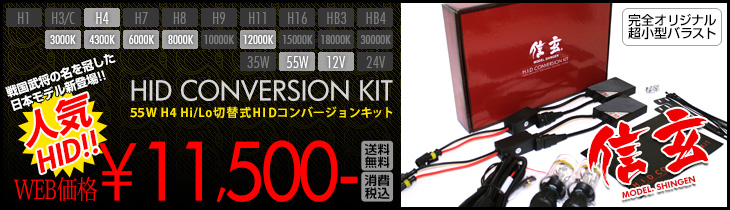 55W H4 Hi/Lo切替式HIDコンバーションキット