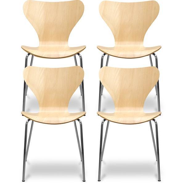 ダイニングチェア 4脚セット 北欧 おしゃれ 木製 椅子 セブンチェア アルネ・ヤコブセン ナチュラル ホワイト ブラック スツール リプロダクト 送料無料 l-design 05