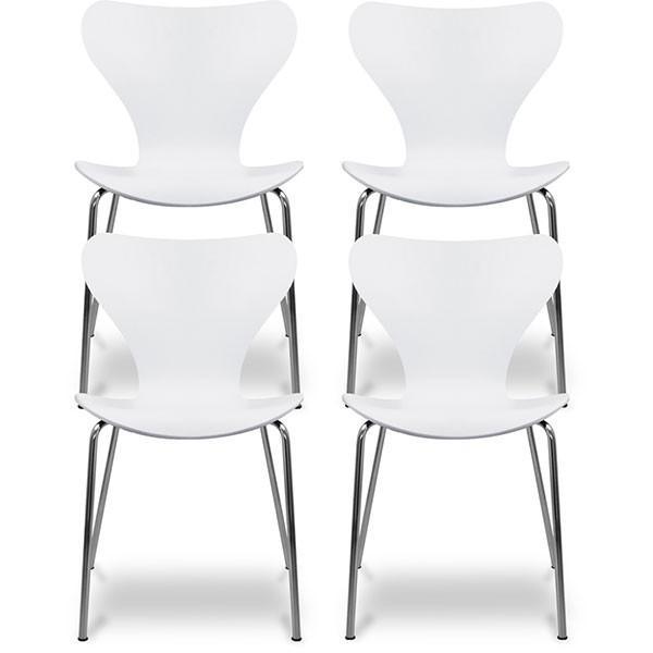 ダイニングチェア 4脚セット 北欧 おしゃれ 木製 椅子 セブンチェア アルネ・ヤコブセン ナチュラル ホワイト ブラック スツール リプロダクト 送料無料 l-design 06