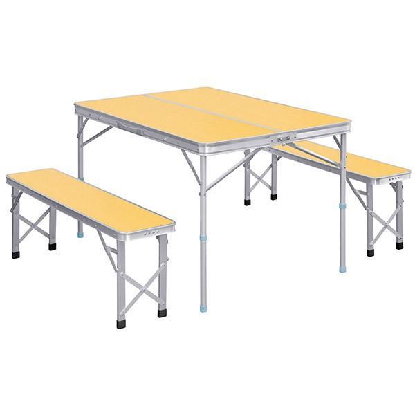 レジャーテーブル 折りたたみ テーブル レジャーテーブルセット ピクニックテーブル 110X80X70cm 収納式 椅子付 FIELDOOR 送料無料 l-design 06