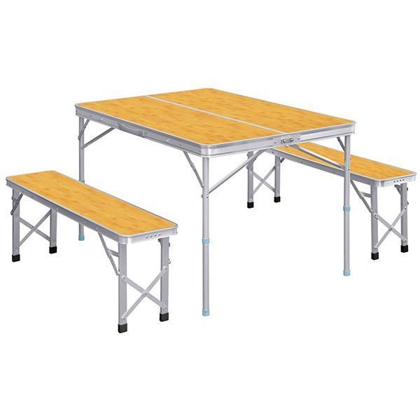 レジャーテーブル 折りたたみ テーブル レジャーテーブルセット ピクニックテーブル 110X80X70cm 収納式 椅子付 FIELDOOR 送料無料 l-design 09