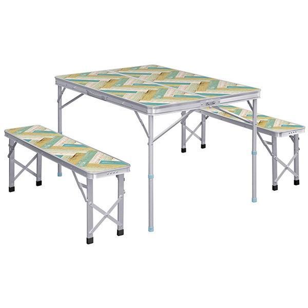 レジャーテーブル 折りたたみ テーブル レジャーテーブルセット ピクニックテーブル 110X80X70cm 収納式 椅子付 FIELDOOR 送料無料 l-design 10