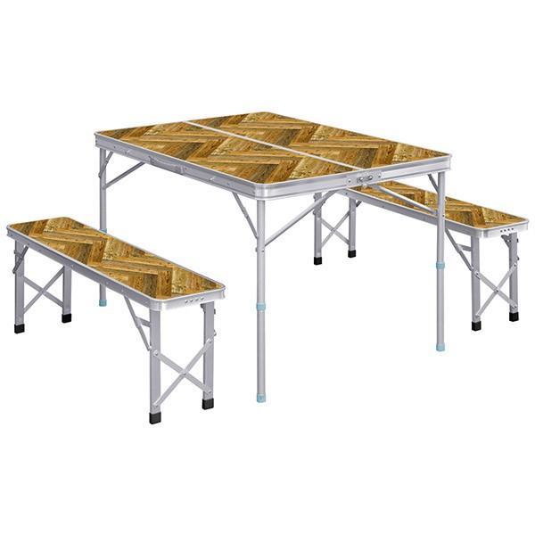 レジャーテーブル 折りたたみ テーブル レジャーテーブルセット ピクニックテーブル 110X80X70cm 収納式 椅子付 FIELDOOR 送料無料 l-design 11