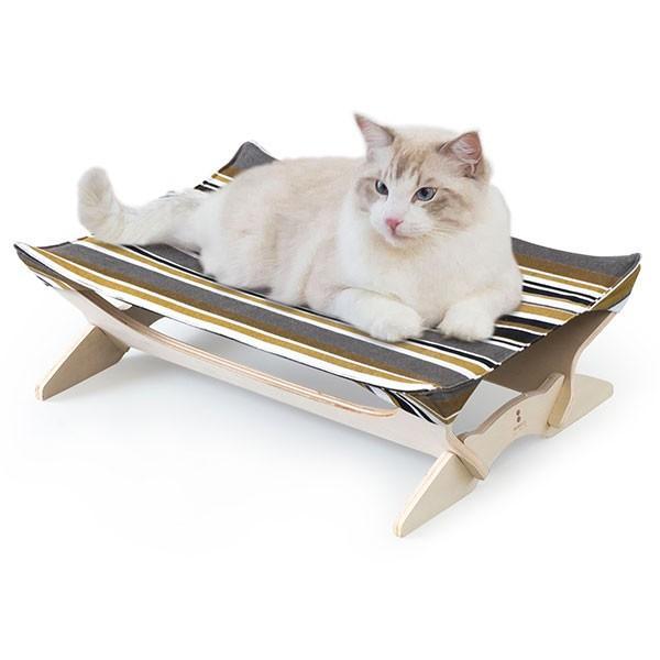 ペット用ハンモック ペット用ベッド 猫 耐荷重6kg Mサイズ 54cm 木製 ペット用ソファ ソファー クッション ペット用品 キャットハンモック 送料無料|l-design|24