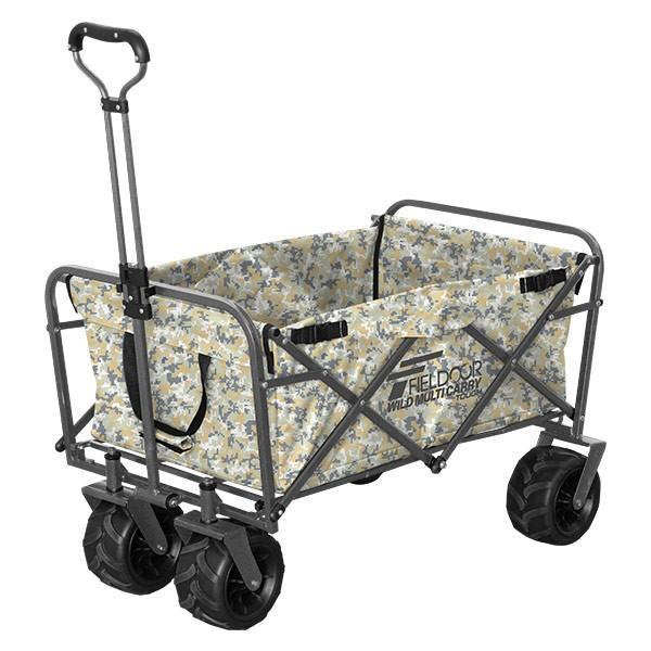 キャリーカート キャリーワゴン アウトドア 折りたたみ 折り畳み 大型タイヤ 軽量 大容量 キャンプ おしゃれ 頑丈 買い物 部活 カート FIELDOOR 送料無料 l-design 21