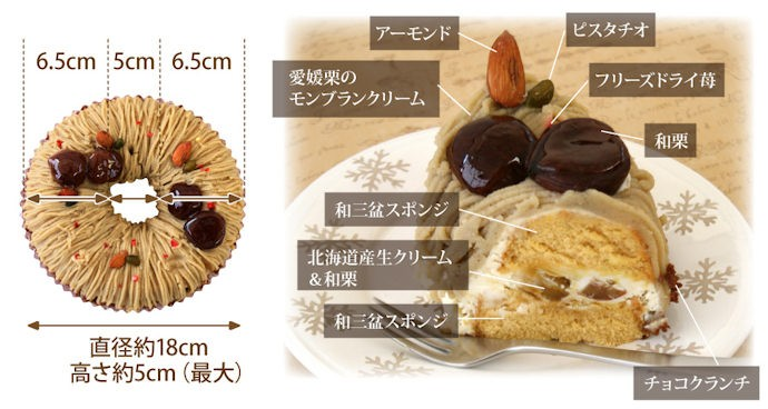 ホクホクの愛媛栗と讃岐和三盆の上品な甘さのスポンジの相性は格別♪