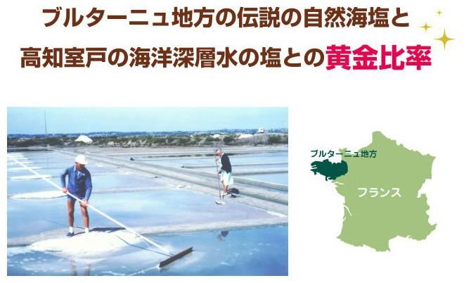 ブルターニュ地方の天然海塩と高知室戸の海洋深層水の塩との黄金比率