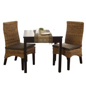 アジアン家具 ダイニングテーブル3点セット 2人用