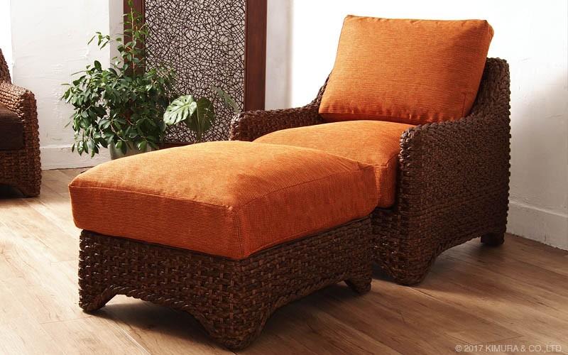 アジアンナチュラルスタイル。ウォーターヒヤシンス(水草)を編み上げた2人掛けソファです。