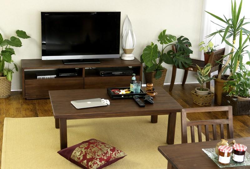 インテリアショップらんどまーく アジアン家具アクビィのチーク無垢木製センターテーブル、机、ローテーブル、座卓。