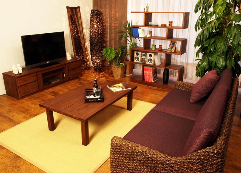 こだわりの木製センターテーブルを送料無料、最短翌日配送あすつくでお届け致します。