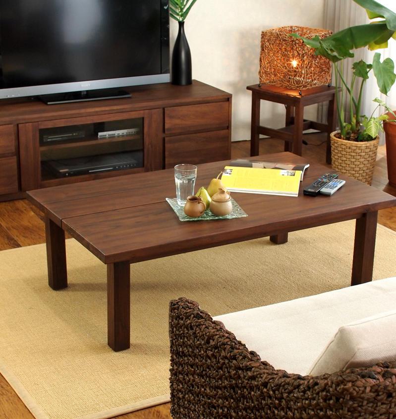 バリ島のリゾートな癒しのリラックス空間をリビングに。アジアン家具acbiシリーズチーク無垢木製ローテーブルです
